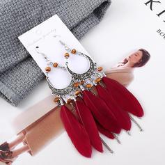 Exotic Vintage Alloy Feather Acrylic Women's Earrings