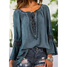 Solid Lace Round Neck Flare Sleeve Long Sleeves Casual Blouses