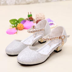 Girl's Leatherette Low Heel Closed Toe Pumps With Sparkling Glitter
