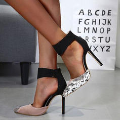 Women's PU Stiletto Heel Pumps Peep Toe With Animal Print shoes