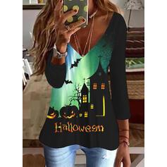 halloween Impresión Carta Animal Cuello en V Mangas 3/4 Camisetas