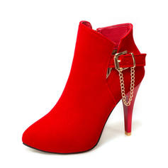 Women's Suede Stiletto Heel Pumps Ankle Boots With Buckle Zipper shoes