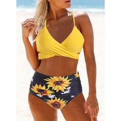 Floral High Waist Print Halter Vintage Bikinis Swimsuits
