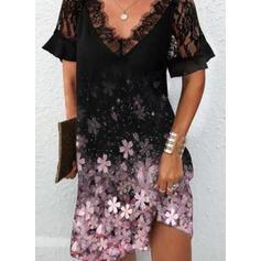 Imprimeu/Floral Dantel Mâneci Scurte Shift Elbiseleri Până la Genunchi gündelik Tunică Elbiseler
