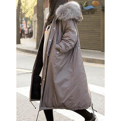Polyester Faux Fur Long Sleeves Plain Blend Coats