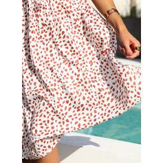 Nadrukowana Krótkie rękawy W kształcie litery A Łyżwiaż Casual/Elegancki Midi Sukienki