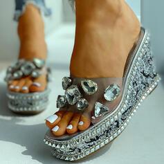 Femmes Talon compensé Sandales avec Strass chaussures