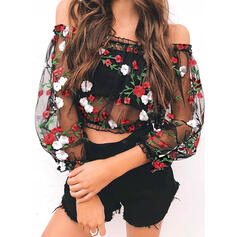 Floral Off the Shoulder Lantern Sleeve Casual Sexy Blouses