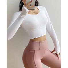 Round Neck Long Sleeves Solid Color Cross Sports Tees