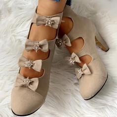 Femmes Suède Talon stiletto Escarpins avec Bowknot chaussures