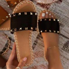 Dámské PU Placatý podpatek Sandály Boty Bez Podpatku Platforma S otevřenou špičkou Pantofle S Nýt obuv