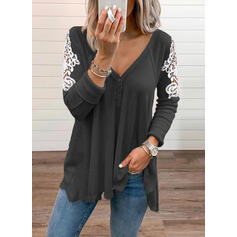 Lace V-Neck Long Sleeves Button Up Casual Blouses