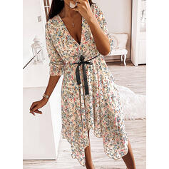 Print/Floral Long Sleeves A-line Asymmetrical Casual Dresses