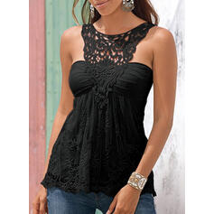 Patchwork Lace Round Neck Sleeveless Casual Tank Tops