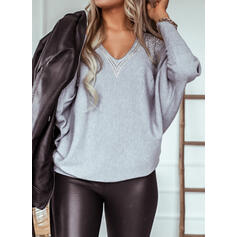 Solid Sequins Cold Shoulder Long Sleeves Casual Knit Blouses