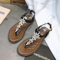 Women's Leatherette Flat Heel Sandals Flats Peep Toe Flip-Flops With Rhinestone shoes