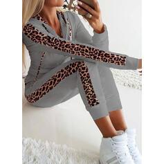 Geometrisch Übergröße Leopard Lässige Kleidung Sexy Sportlich Anzüge