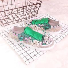 Femmes Satiné Talon plat Chaussures plates Bout fermé avec Strass Dentelle Tassel chaussures