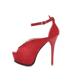 Naisten Mokkanahka Piikkikorko Platform Peep toe kengät