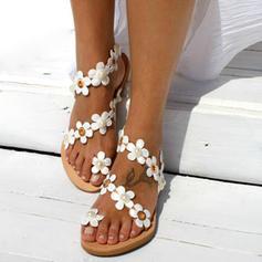 Femmes Similicuir Talon plat Sandales Chaussures plates À bout ouvert Escarpins avec Motif appliqué Une fleur chaussures