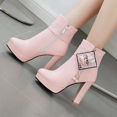 Women's PU Stiletto Heel Ankle Boots With Zipper shoes