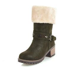 Femmes Similicuir Talon bottier Bottes Bottes mi-mollets Bottes neige avec Rivet Boucle chaussures