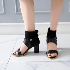 Mulheres PU Salto robusto Sandálias Peep toe com Fivela sapatos