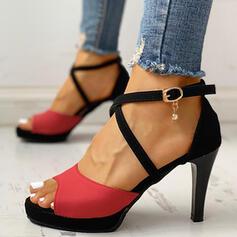Frauen Veloursleder Stöckel Absatz Absatzschuhe mit Nachahmungen von Perlen Schnalle Schuhe