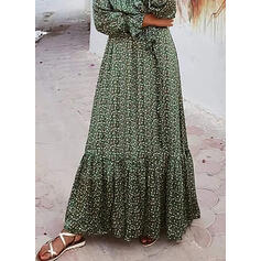 Print Long Sleeves A-line Skater Casual/Vacation Maxi Dresses