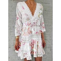 Encaje/Impresión/Floral Mangas 3/4 Tendencia Sobre la Rodilla Casual/Elegante Vestidos