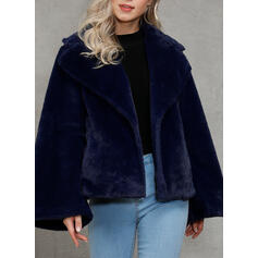 Polyester Long Sleeves Plaid Faux Fur Coats
