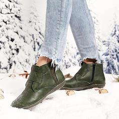 Női PU Lapos sarok Bokacsizma -Val Cipzár cipő