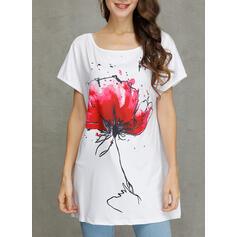 Floral Cuello redondo Manga corta Casual Camisetas