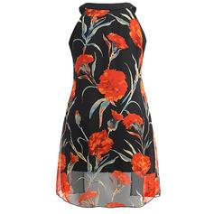 Estampado Floral Gola Redonda Sem Mangas Casual Tamanho positivo Camisetas regata