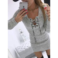 Jednolity Dekolt w kształcie litery V Casual Długie Dopasowany Sukienka sweterkowa
