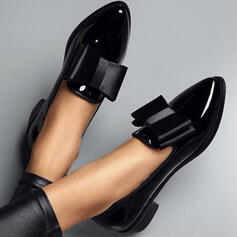 De mujer PU Tacón ancho Planos con Bowknot Color sólido zapatos