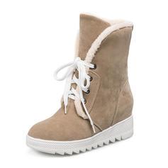 Femmes Suède Talon compensé Bout fermé Bottes Bottes neige avec Dentelle chaussures