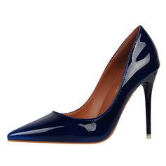 Women's Patent Leather Stiletto Heel Pumps Closed Toe shoes