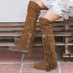 Bayanlar Süet Düz topuk bot ayakkabı Diz Çizmesi Ile Toka Püskül ayakkabı