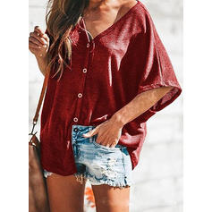 Solid V-Neck 1/2 Sleeves Button Up Casual Knit Blouses
