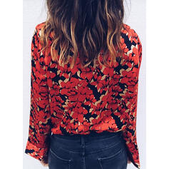 Print Floral Lapel Long Sleeves Casual Elegant Blouses