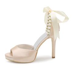Frauen Satin Stöckel Absatz Peep Toe Sandalen mit Bowknot Nachahmungen von Perlen