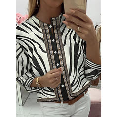 Animal Print Stand collar Long Sleeves Button Up Casual Blouses