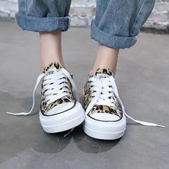 Vrouwen Zeildoek Flat Heel Flats met Vastrijgen schoenen