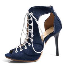 Women's Leatherette Denim Stiletto Heel Sandals Pumps Peep Toe With Lace-up shoes