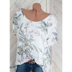 Floral Round Neck Short Sleeves Casual Blouses