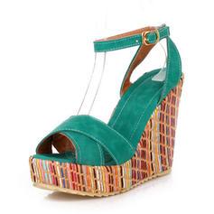 De mujer Cuero Tipo de tacón Salón Plataforma Cuñas Encaje Solo correa con Hebilla zapatos