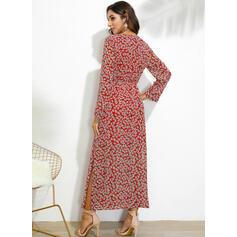 Print Long Sleeves Sheath Casual Maxi Dresses