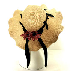 Ladies' Classic Rattan Straw With Bowknot Floppy Hats/Straw Hats
