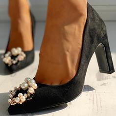 Donna Camoscio Tacco spesso Stiletto con Strass Perla imitazione scarpe